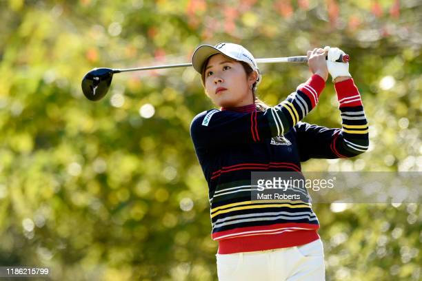 Momoko Osato of Japan hits her tee shot on the 2nd hole during the first round of the TOTO Japan Classic at Seta Golf Course North Course on November...