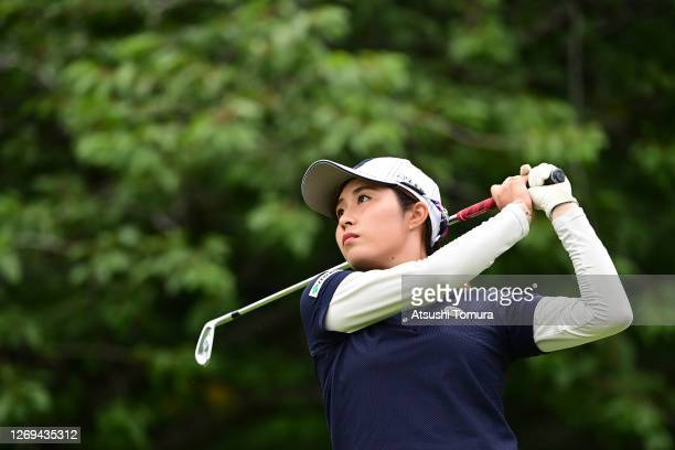 Momoko Osato of Japan hits her tee shot on the 4th hole during the third round of the Nitori Ladies Golf Tournament at the Otaru Country Club on...