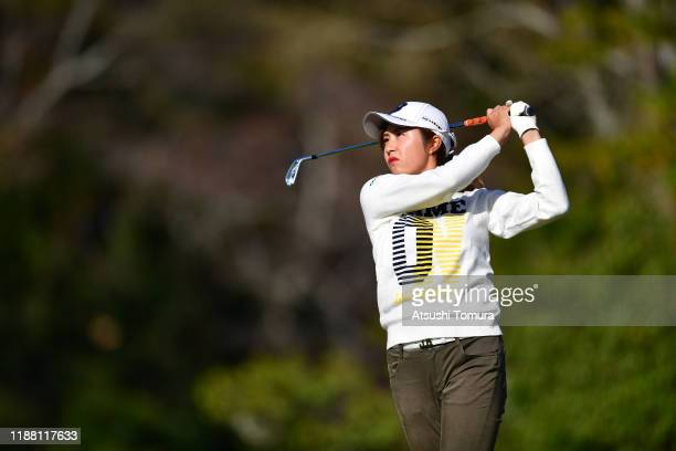 Momoko Osato of Japan hits her tee shot on the 7th hole during the final round of the ItoEn Ladies at Great Island Club on November 17 2019 in Chonan...
