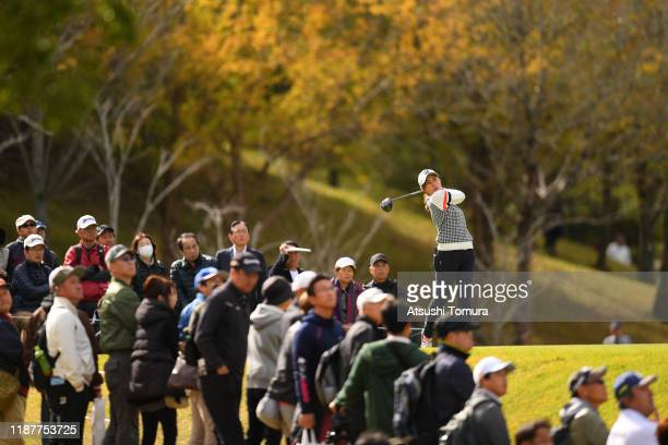Momoko Osato of Japan hits her tee shot on the 9th hole during the first round of the ItoEn Ladies at Great Island Club on November 15 2019 in Chonan...