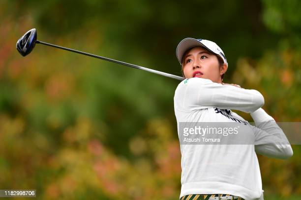 Momoko Osato of Japan hits his tee shot on the 12th hole during the first round of the Nobuta Group Masters GC Ladies at Masters Golf Club on October...