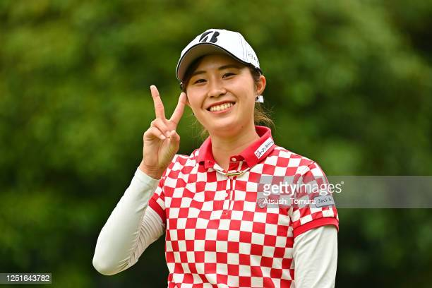 Momoko Osato of Japan poses for photographs after her tee shot on the 12th hole during the practice round ahead of the Earth Mondamin Cup at the...
