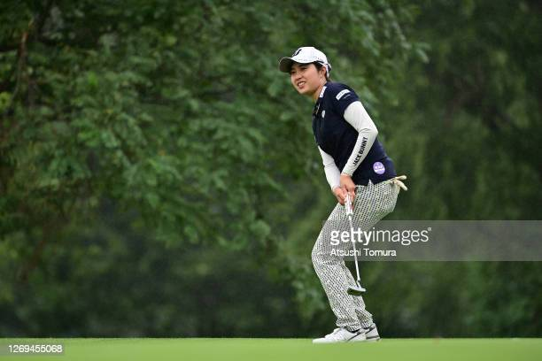 Momoko Osato of Japan reacts after a putt on the 18th green during the third round of the Nitori Ladies Golf Tournament at the Otaru Country Club on...