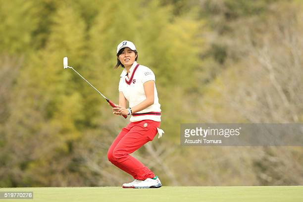 Momoko Osato of Japan reacts on the 1st green during the first round of the Studio Alice Open at the Hanayashiki Golf Club Yokawa Course on April 8...