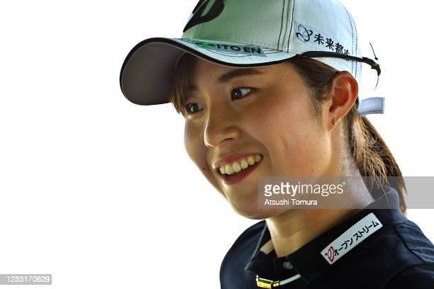 Momoko Osato of Japan smiles on the 1st tee during the final round of the Earth Mondamin Cup at the Camellia Hills Country Club on June 29 2020 in...