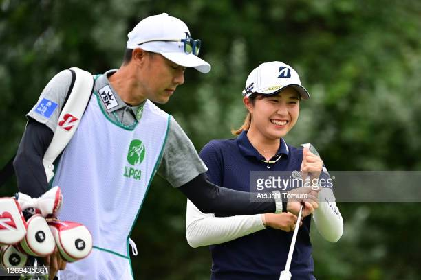 Momoko Osato of Japan smiles on the 4th green during the third round of the Nitori Ladies Golf Tournament at the Otaru Country Club on August 29 2020...