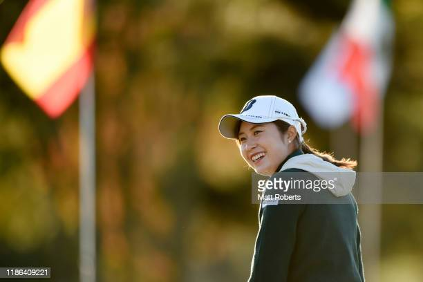 Momoko Osato of Japan smiles on the practice green prior to the second round of the TOTO Japan Classic at Seta Golf Course North Course on November...