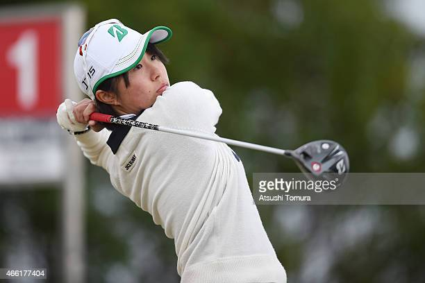 Momoko Osato of Japan tees off on the 1st hole during the second round of the Yokohama Tyre PRGR Ladies Cup at the Tosa Country Club on March 14 2015...