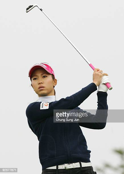 Momoko Ueda of Japan hits a teeshot in the 4th hole during round two of Hana Bank Kolon Championship at Sky 72 Golf Club on October 31 2009 in...