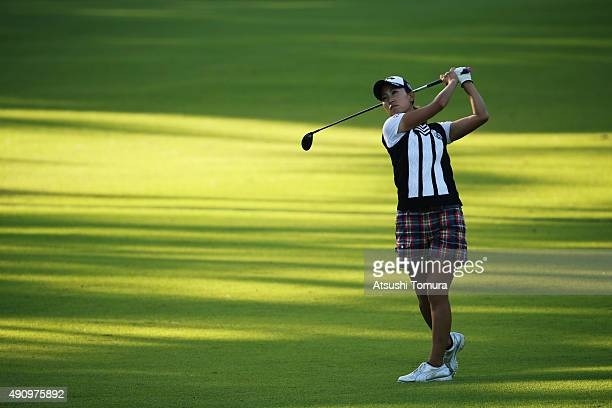 Momoko Ueda of Japan hits her second shot on the 18th hole during second round of Japan Women's Open 2015 at the Katayamazu Golf Culb on October 2...