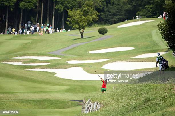 Momoko Ueda of Japan hits her second shot on the 2nd hole during the first round of the Golf 5 Ladies Tournament 2015 at the Mizunami Country Club on...