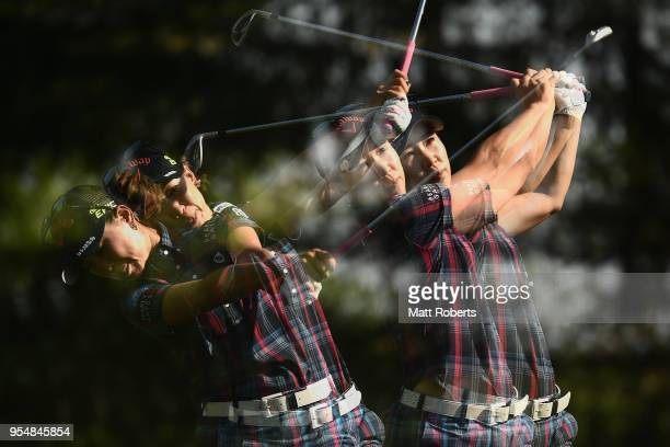 Momoko Ueda of Japan hits her tee shot on the 13th hole during the third round of the World Ladies Championship Salonpas Cup at Ibaraki Golf Course...