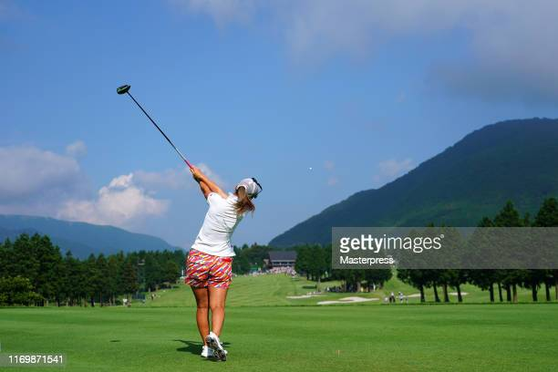 Momoko Ueda of Japan hits her tee shot on the 18th hole during the second round of the CAT Ladies 2019 at Daihakone Country Club on August 24 2019 in...