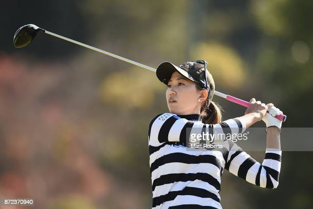 Momoko Ueda of Japan hits her tee shot on the 3rd hole during the first round of the Itoen Ladies Golf Tournament 2017 at the Great Island Club on...