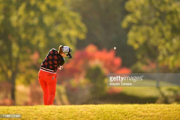 Momoko Ueda of Japan hits her tee shot on the 7th hole during the final round of the ItoEn Ladies at Great Island Club on November 17 2019 in Chonan...