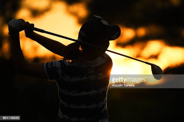 Momoko Ueda of Japan hits her tee shot on the 9th hole during the first round of the World Ladies Championship Salonpas Cup at Ibaraki Golf Course...