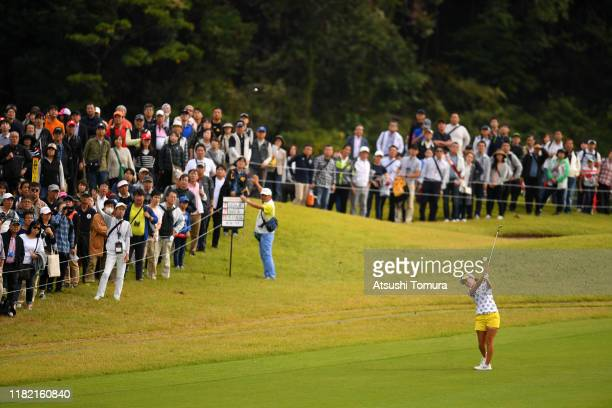 Momoko Ueda of Japan hits her third shot on the 1st hole during the final round of Fujitsu Ladies at Tokyu Seven Hundred Club on October 20 2019 in...