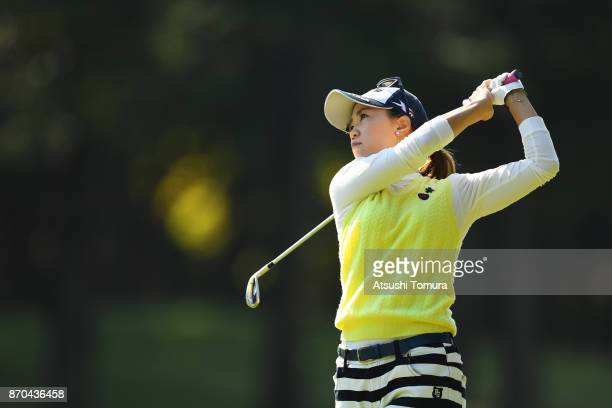 Momoko Ueda of Japan hits her third shot on the 9th hole during the final round of the TOTO Japan Classics 2017 at the Taiheiyo Club Minori Course on...