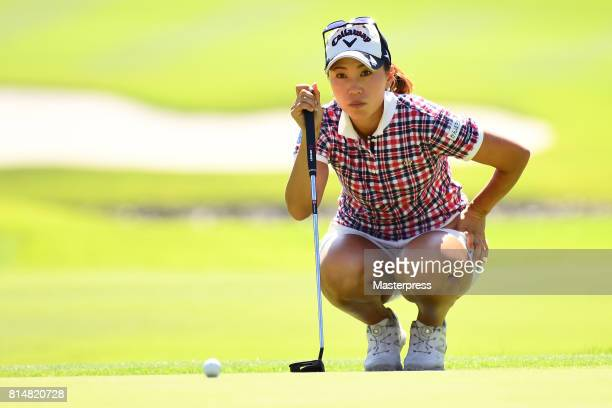 Momoko Ueda of Japan lines up during the second round of the Samantha Thavasa Girls Collection Ladies Tournament at the Eagle Point Golf Club on July...