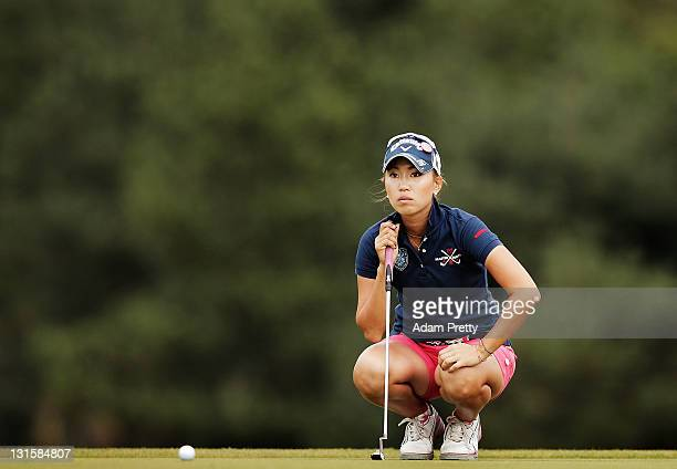 Momoko Ueda of Japan lines up her put on the 3rd playoff hole in the final round of the Mizuno Classic at Kintetsu Kashikojima Country Club on...
