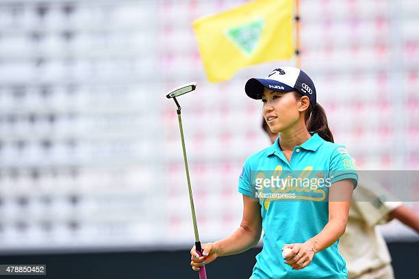 Momoko Ueda of Japan looks on during the final round of the Earth Mondamin Cup at the Camellia Hills Country Club on June 28 2015 in Sodegaura Japan
