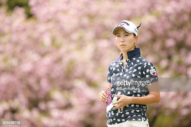 Momoko Ueda of Japan looks on during the second round of the Fujisankei Ladies Classic at the Kawana Hotel Golf Course Fuji Course on April 23 2016...