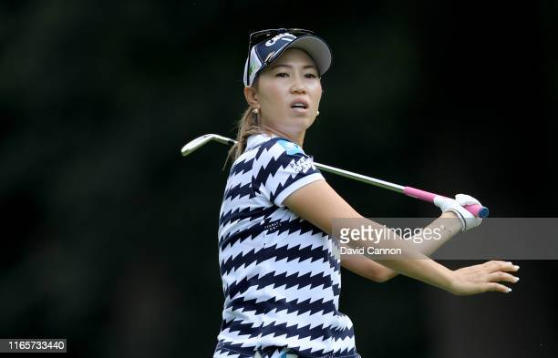 Momoko Ueda of Japan plays her second shot on the par 4 16th hole during the second round of the AIG Women's British Open on the Marquess Course at...