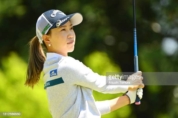 Momoko Ueda of Japan plays her shot on the 10th hole during the practice round ahead of the KKT Vantelin Ladies Open at the Kumamoto Kuko Country...