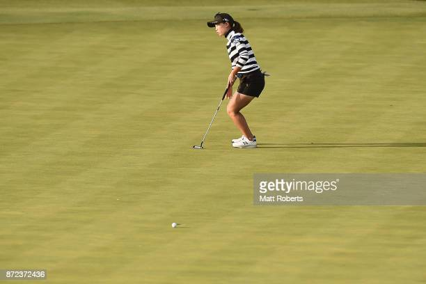 Momoko Ueda of Japan reacts after her putt on the 18th green during the first round of the Itoen Ladies Golf Tournament 2017 at the Great Island Club...