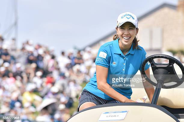 Momoko Ueda of Japan smiles during the final round of the Yonex Ladies Golf Tournament 2016 at the Yonex Country Club on June 5 2016 in Nagaoka Japan