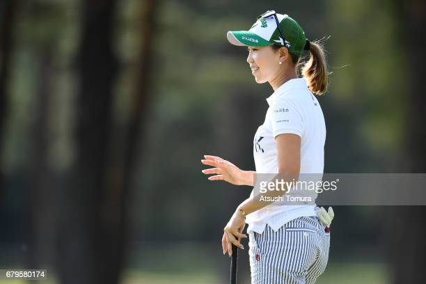 Momoko Ueda of Japan smiles during the third round of the World Ladies Championship Salonpas Cup at the Ibaraki Golf Club on May 6 2017 in...