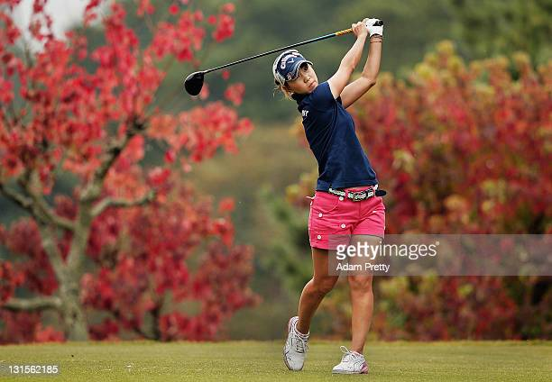 Momoko Ueda of Japan tees off during the final round of the Mizuno Classic at Kintetsu Kashikojima Country Club on November 6 2011 in Shima Japan