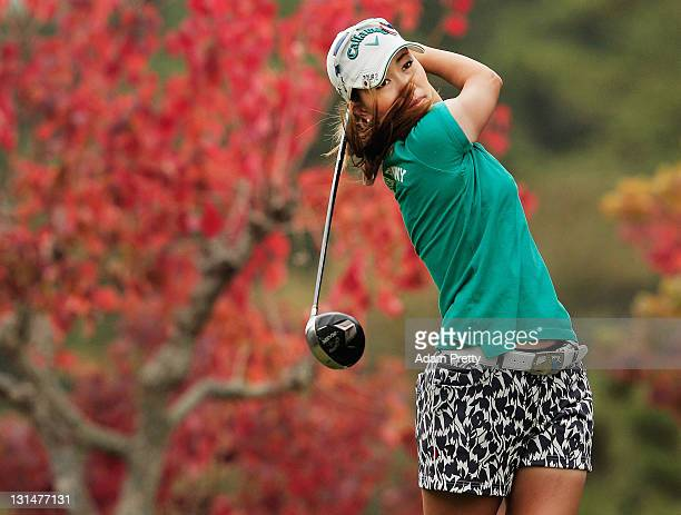 Momoko Ueda of Japan tees off during the second round of the Mizuno Classic at Kintetsu Kashikojima Country Club on November 5 2011 in Shima Japan