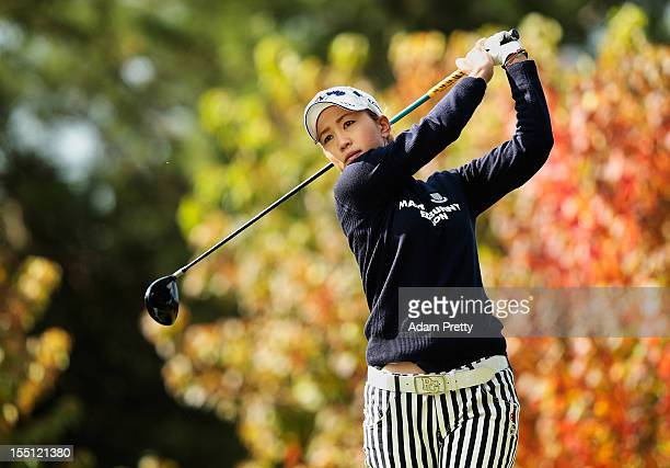 Momoko Ueda of Japan tees off from the 2nd hole during the first round of Mizuno Classic at Kintetsu Kashikojima Country Club on November 2 2012 in...