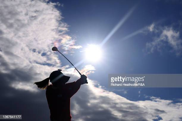 MomokoUeda of Japan plays her shot off the 18th tee during Day Two of the AIG Women's Open 2020 at Royal Troon on August 21 2020 in Troon Scotland