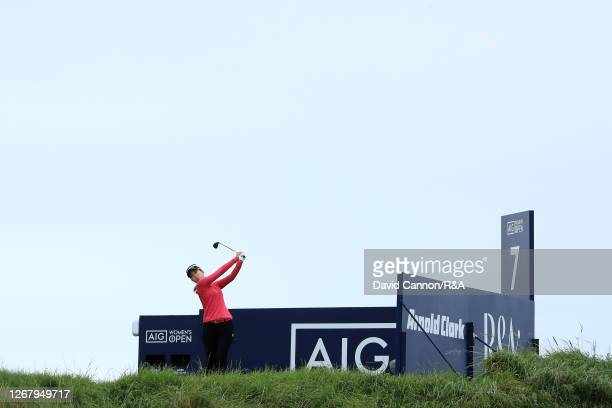 MomokoUeda of Japan tees off the 7th hole during Day Four of the 2020 AIG Women's Open at Royal Troon on August 23 2020 in Troon Scotland