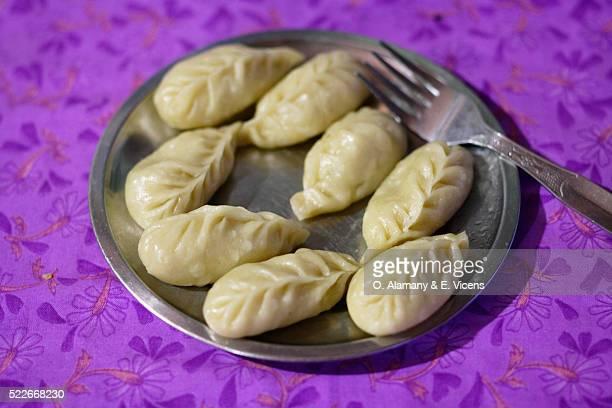 Momos (type of dumpling native to the Newa people of Nepal) in Jharkot village, Annapurna Circuit, Mustang District, Himalaya, Nepal