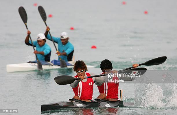 Momotaro Matsushita and Naoki Onoto of Japan get ahead of India and qualify for the final during the Men's K2 500m semifinal race at the 15th Asian...