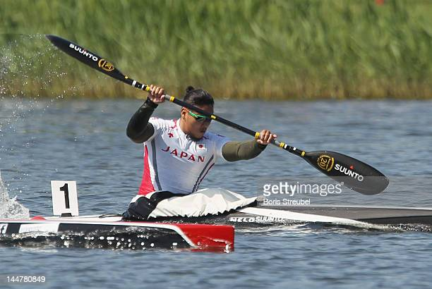 Momotaro Matsushita of Japan competes in the men's kayak single 200m heat during day two of the ICF Canoe Sprint World Cup 2012 at Malta Regatta...