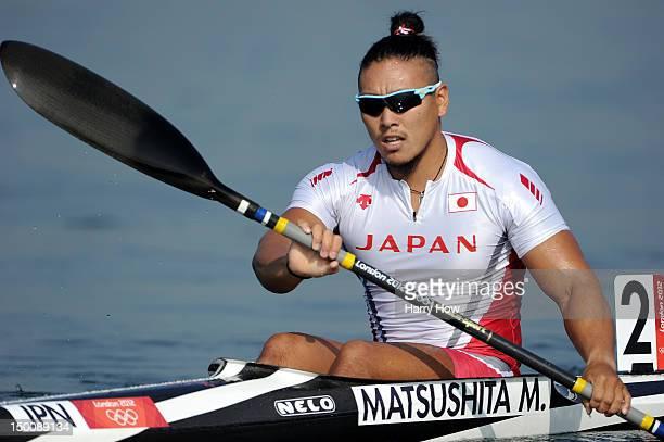 Momotaro Matsushita of Japan competes in the Men's Kayak Single 200m Canoe Sprint heats on Day 14 of the London 2012 Olympic Games at Eton Dorney on...