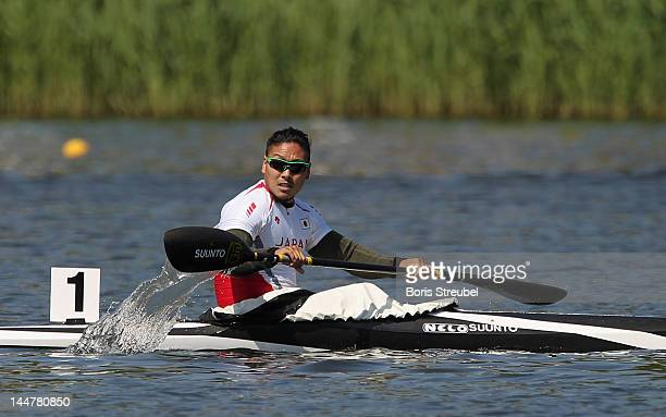 Momotaro Matsushita of Japan looks on after the men's kayak single 200m heat during day two of the ICF Canoe Sprint World Cup 2012 at Malta Regatta...