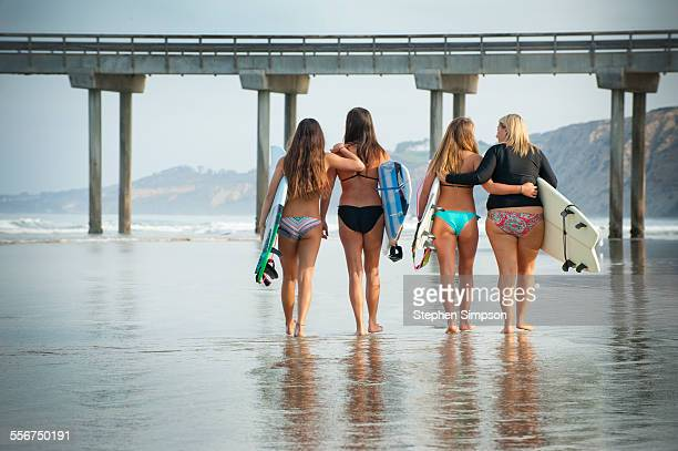 Moms and daughters going surfing