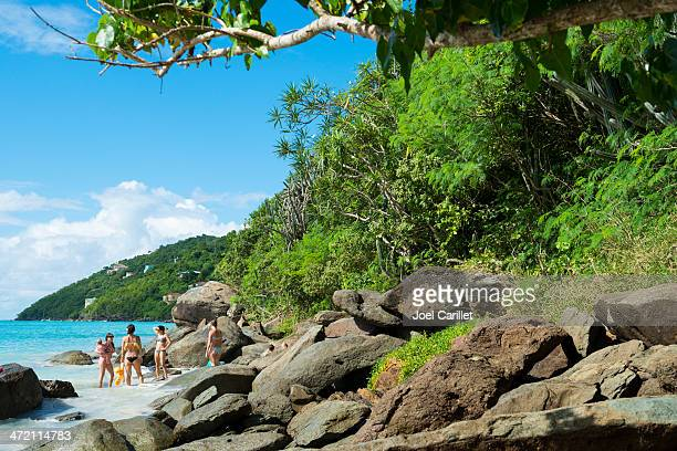 moms and kids at the beach - magens bay stock photos and pictures
