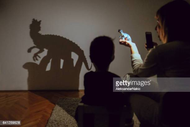 Mom's shadow puppet show