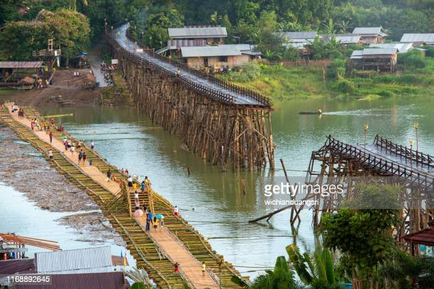 mon bridge sangkhlaburi , kanchanaburi province ,thailand - カンチャナブリ県 ストックフォトと画像