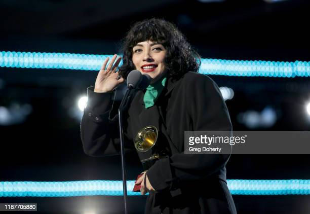 Mon Laferte accepts award for Best Alternative Music Album onstage at the Premiere Ceremony during the 20th annual Latin GRAMMY Awards at MGM Grand...