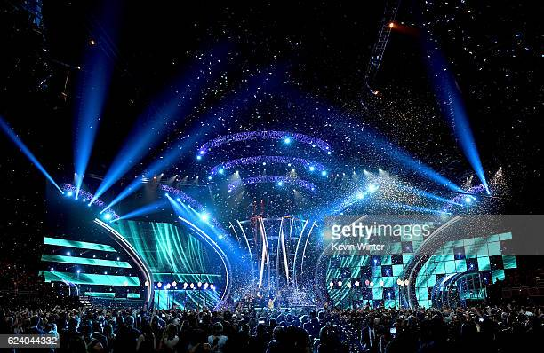 Mon Laferte and Juanes perform onstage during The 17th Annual Latin Grammy Awards at TMobile Arena on November 17 2016 in Las Vegas Nevada