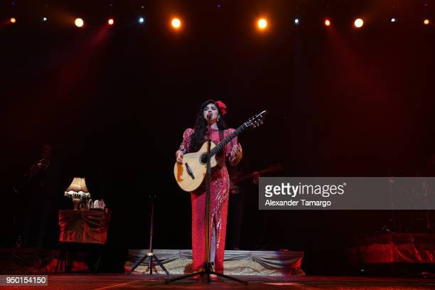 Mon Laferte is seen performing on stage at the AmericanAirlines Arena on April 22 2018 in Miami Florida
