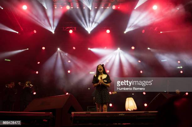Mon Laferte performs during a show as part of the AMPLIFICA concert in benefit of the September 19th earthquake victims at Palacio de los Deportes on...