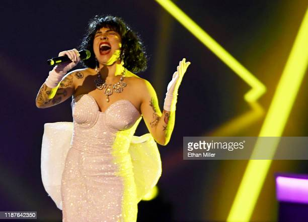 Mon Laferte performs during the Latin Recording Academy's 2019 Person of the Year gala honoring Juanes at the Premier Ballroom at MGM Grand Hotel...